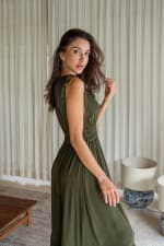 Phobe Dress - Army Green - Back