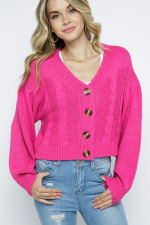 Crop Cable Knit Button Down Cardigan with Lantern Sleeves - Fuchsia - Front