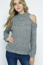 Cold Shoulder Knit Mock Neck Pullover - Charcoal - Front