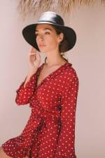 Cranberry Polka Wrap Dress - Cranberry - Back