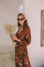 Long Sleeve Autumn Peasant Dress - Brown Floral - Back