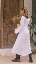 Classic White Long Sleeve Dress - White - Back