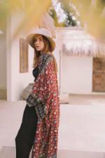 Cranberry Floral Kimono - Cranberry Floral - Front