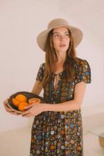 Peasant Flowy Dress - Olive Floral - Front
