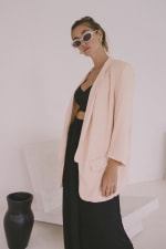 Oversized Blazer - Plus - Blush - Back