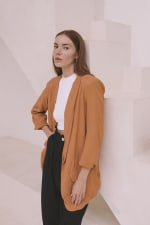 Oversized Blazer - Plus - Burnt Orange - Front