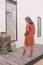Linen Shirt - Burnt Orange - Back