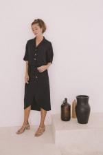 Bamboo Midi Skirt - Black - Front