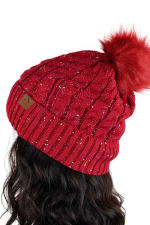 Novelty Stitch Knit Winter Hat - Red - Back