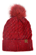 Novelty Stitch Knit Winter Hat - Red - Front
