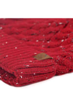 Novelty Stitch Knit Winter Hat - Red - Detail