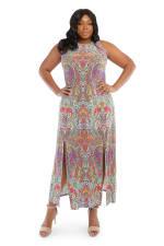Sleeveless Scroll Maxi Slit Dress - 3