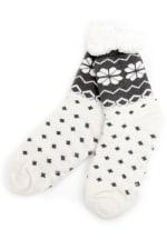 Nordic Sherpa Lined Slipper Socks - White - Front