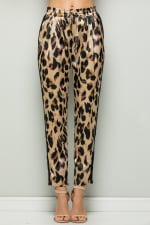 Contrast Statement Pants with Leopard Print - 1