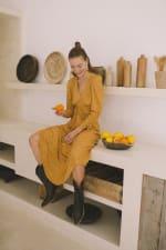 Mustard Polka Long Sleeve Dress - Plus - 6
