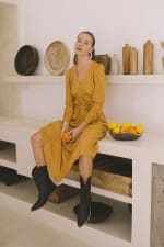 Mustard Polka Long Sleeve Dress - Plus - 4
