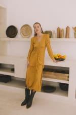Mustard Polka Long Sleeve Dress - Plus - 2