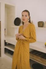 Mustard Polka Long Sleeve Dress - Plus - 9