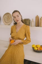 Mustard Polka Long Sleeve Dress - Plus - 3