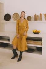 Mustard Polka Long Sleeve Dress - Plus - 1