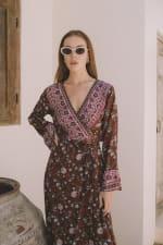 Long Sleeve Morrocan Wrap Dress - Plus - 6
