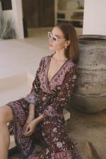 Long Sleeve Morrocan Wrap Dress - Plus - 8