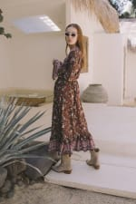 Long Sleeve Morrocan Wrap Dress - Plus - Brown Floral - Back