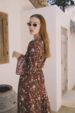Long Sleeve Morrocan Wrap Dress - Plus - 3