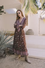Long Sleeve Morrocan Wrap Dress - Brown Floral - Front