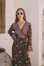 Long Sleeve Morrocan Wrap Dress - 6