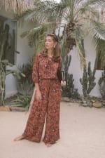 Fall Floral Wide-Leg Pants - Rust - Back