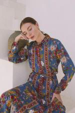 Tribal Print Midi Shirt-Dress - 7
