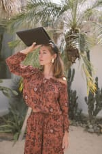 Fall Floral Peasant Off-Shoulder Top - Rust - Back