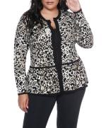 Leopard Jacquard Sweater Jacket - Plus - 3