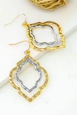 Two-Tone Twisted Hoops Earrings - Gold - Front