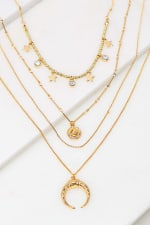 Layered Beaded Choker with Cresecent and Disk Charms - Gold - Front