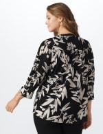 Neutral Vine Floral Knit Popover - Plus - black-Buff - Back