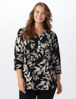 Neutral Vine Floral Knit Popover - Plus - black-Buff - Front