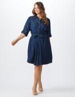 Roll Tab Denim Shirt Dress - Plus - dark denim - Front