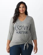 LOVE Matters Tie Front Knit Screen Tee - Heather Grey - Front
