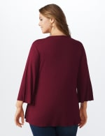 Bell Sleeve Crochet Trim V-Neck Knit Top - Plus - Ruby - Back
