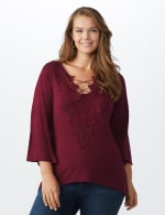 Bell Sleeve Crochet Trim V-Neck Knit Top - Plus - Ruby - Front
