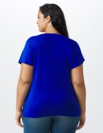 Westport Flutter Sleeve Crochet Trim Knit Top - Royal - Back