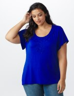 Westport Flutter Sleeve Crochet Trim Knit Top - Royal - Front