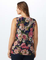 Mesh Tiered Floral Knit Top - Plus - Navy - Back