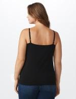 Picot Trim Cotton Spandex Cami - Plus - Black - Back