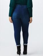 Plus 5 Pocket High Waist Ankle Length Roll Up Jean - Medium Wash - Back
