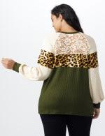 Olive Animal Mix Media Knit Top - Plus - Olive - Back