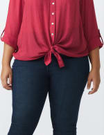 Textured Button Front Roll Tab Shirt - Plus - 11