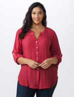 Textured Button Front Roll Tab Shirt - Plus - 12
